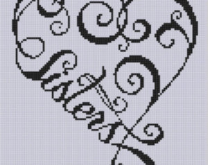 Sisters Heart Cross Stitch Pattern