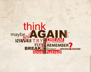 art, life, quotes, red, text, think, typography, words