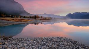 Abraham Lake on the North Saskatchewan River in Alberta, Canada ...