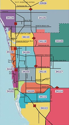 Collier County Florida Zip Code Map