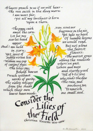 Consider The Lilies Of The Field Rossetti