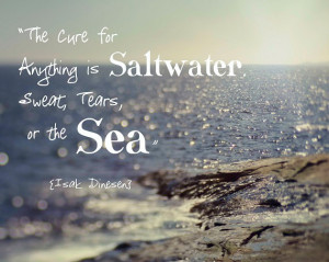 Ocean Beach Quote Isak Dinesen Waves Aqua Teal Blue White Sparkle ...