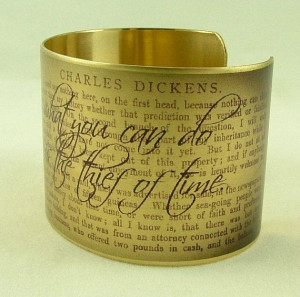 ... .' - David Copperfield by Charles Dickens Literary Quote Brass Cuff