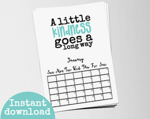 ... Download - Month Page - Quote Calendar - Wall Diary - Kindness Quote