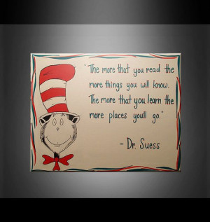 Cat in the Hat Dr. Suess Quote Painting White Red by JDowDecor, $55.00