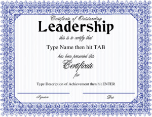 ... blue frame design blue certificate of outstanding leadership no quote