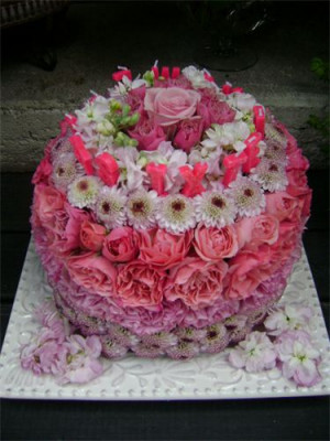 happy birthday flowers cake
