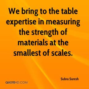 We bring to the table expertise in measuring the strength of materials ...