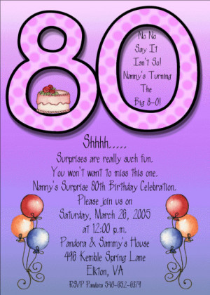Adult Birthday Invitations Purple 80th ABI224 DIY