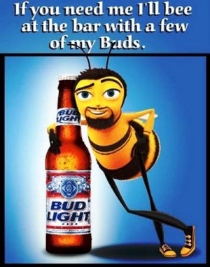 Budweiser beer commercial - A bee standing next to a bottle with light ...
