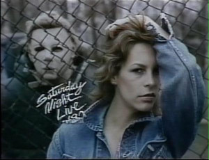 Michael Myers stalking Jamie Lee Curtis while she poses for the camera ...