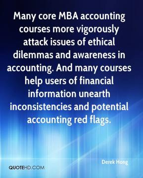 core MBA accounting courses more vigorously attack issues of ethical ...