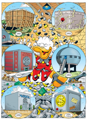 The history of Scrooge McDuck's iconic Money Bin. By Don Rosa~