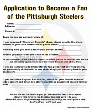 Thread: Application to become a Steelers Fan