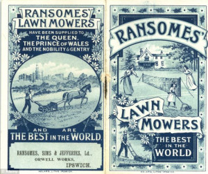 ... Above, a copy of the Ransomes' Lawn Mower catalogue, printed in 1901