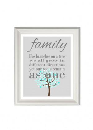 Family art print- family quote- family wall art- tree art print- grey ...
