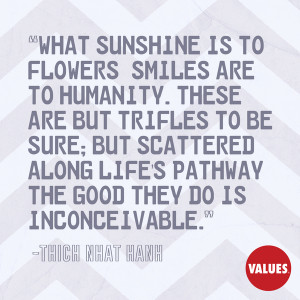 What sunshine is to flowers, smiles are to humanity. These are but ...