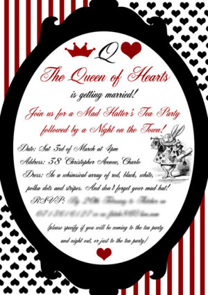 Queen of Heart tea party invitation card from Red Dove Designs