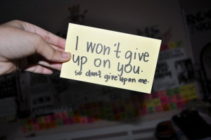 won't give up on you. so don't give upon me.