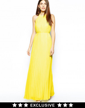 Ted Baker Exclusive To Asos Maxi Dress with Belt in Yellow Lemon