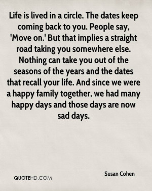 Life is lived in a circle. The dates keep coming back to you. People ...