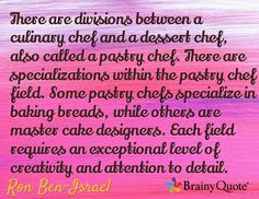 between a culinary chef and a dessert chef, also called a pastry chef ...