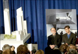 Peter Walker, left, and Michael Arad at a news conference in January ...