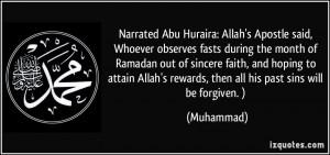 Narrated Abu Huraira: Allah's Apostle said, Whoever observes fasts ...