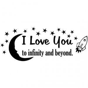 Love You to Infinity and Beyond vinyl wall quote with moon and stars ...