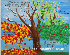 Four Seasons Tree Acrylic Painting Scripture Bible Verse Spring Summer ...