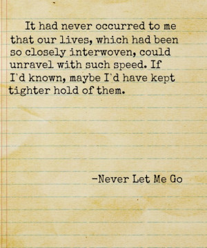 Loved this book. Never Let Me Go | Words, Inspiration