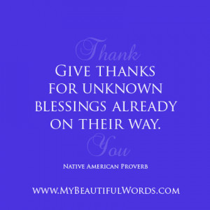Always Give Thanks...
