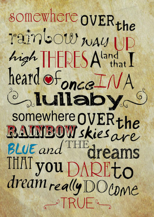 Somewhere Over The Rainbow Lyrics Print Digital Art