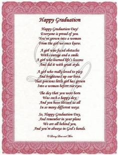Daughter Quotes Graduation | Graduation Poem is for that special ...