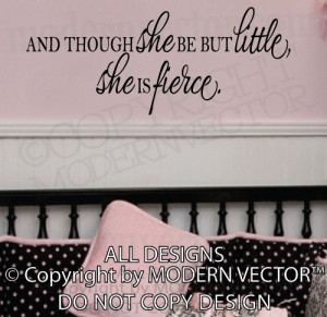 Details about SHAKESPEARE Quote SHE IS FIERCE Vinyl Wall Decal ...