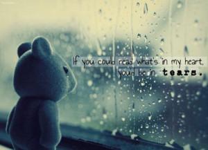 cute, heart, photography, rain, sad, tears, teddy bear, text, typo ...
