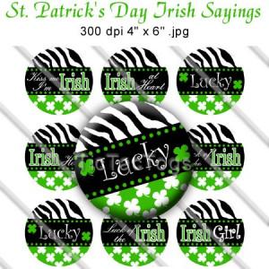 St Patricks Day Irish Sayings Zebra Shamrock Clover Bottle Cap Images