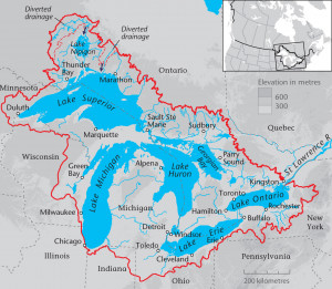 great lakes north america map