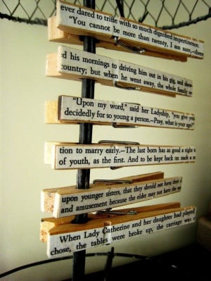 ... clothespins, emblazoned with famous Pride and Prejudice quotes. $8