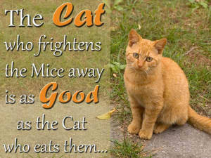 The cat who frightens the mice away is as good as the cat who eats ...