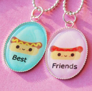 Hot Dog Ketchup and Mustard Best Friend Friendship Necklace