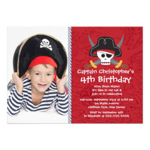 Ahoy Mates Photo Pirate Birthday Party Invitations