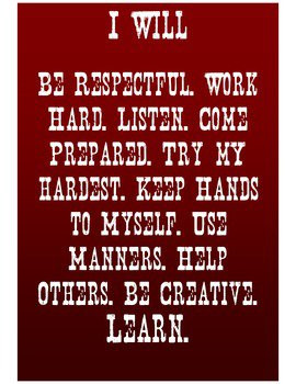 rules for middle and high school students. I always teach respect ...
