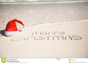merry-christmas-written-tropical-beach-white-sand-xmas-hat-see-my ...