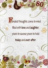 FEMALE 80TH 80 BIRTHDAY CARDS POETRY IN MOTION GLITTER GREETING CARD ...