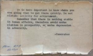 ... undue elation in prosperity or undue depression in adversity isocrates