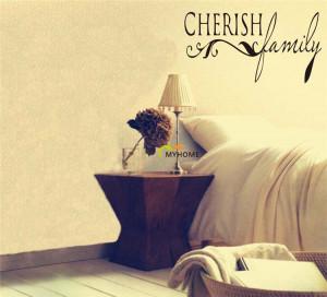 Cherish Family Quotes Home Decor Environmental Friendly Vinyl Wall ...