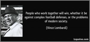 People who work together will win, whether it be against complex ...