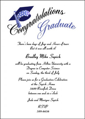 Find Lots of Graduation Party Open House Invitation Wording Samples ...