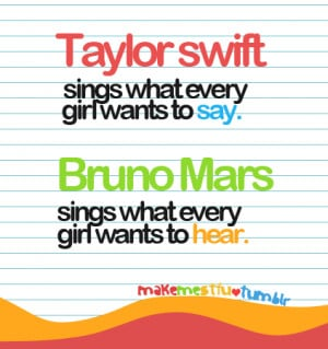 ... Bruno Mars Sings What Every Girl Wants To Hear ~ Love Quote